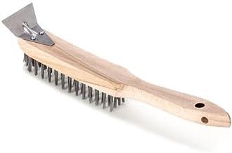 Borstel/handborstel met schraper voor het verwijderen van roest, vuil en verf, 4 rijen met handvat van beukenhout   borste...