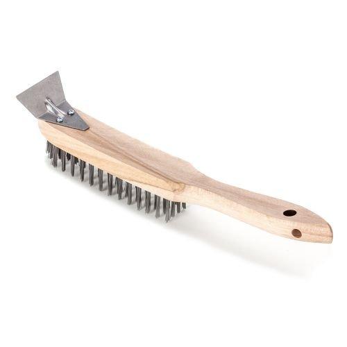 Bürste / Handbürste mit Schaber zur Entfernung von Rost, Schmutz und Farbe | 4 Reihig mit Griff aus Buchenholz | Borsten aus Stahldraht 0,35 mm dick, 25 mm hoch, glatt