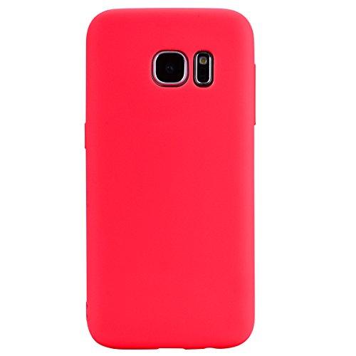cuzz Funda para Samsung Galaxy S7 Edge+{Protector de Pantalla de Vidrio Templado} Carcasa Silicona Suave Gel Rasguño y Resistente Teléfono Móvil Cover-Rojo