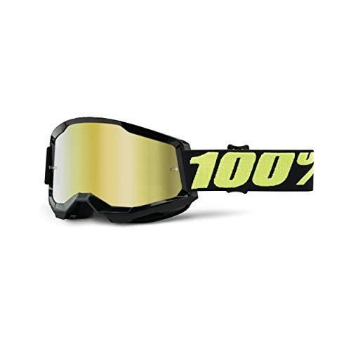 100% Strata 2 Motocross & Mountain Biking Goggles (UPSOL - Mirror Gold Lens) MX and Mountain Bike Racing Protective Eyewear