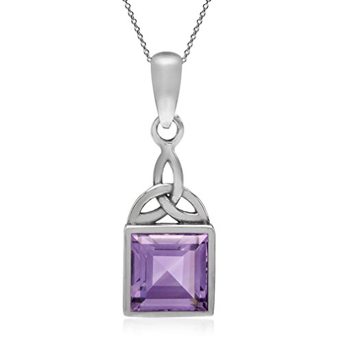 Silvershake 1.54ct. Natural Amethyst 925 Sterling Silver Triquetra Celtic Knot Pendant with 18 Inch Chain Necklace
