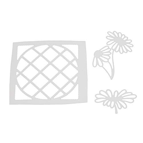 Gemini_mall Metallstanzformen mit Blumen-Hintergrund, DIY Prägeschablone, Scrapbook Papier Craft Silber