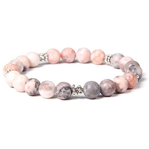 Pinturas de piedras de piedra de cebra rosa para las mujeres 6 mm Mate Stone Beads Pulsera Hombres Joyería amor corazón forma aleación encanto pink zebra flower 23cm