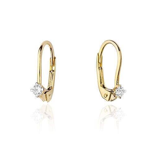 Damen Ohrringe 585 14k Gold Gelbgold Ohrhänger mit praktischem Brisurverschluss Diamant Brillanten