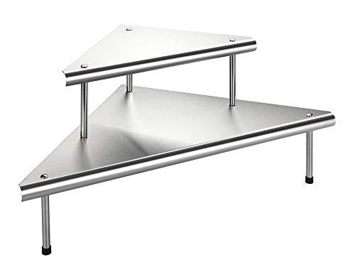 WENKO 2045030500 Küchen-Eckregal Massivo Duo mit 2 Ablagen, Edelstahl rostfrei, 48.5 x 31 x 48.5 cm, Silber