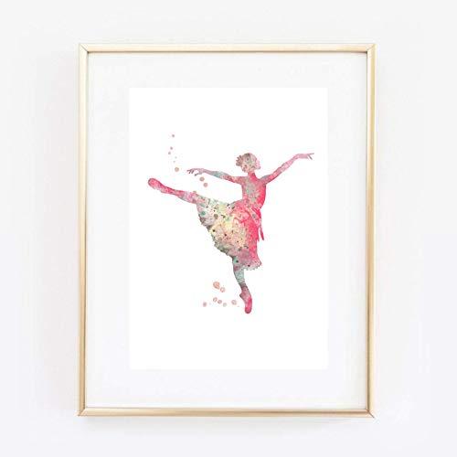 Din A4 Kunstdruck ungerahmt - Tanz Tänzerin Ballett Ballerina Aquarell Wasserfarbe rosa pink Geschenk Druck Poster Bild