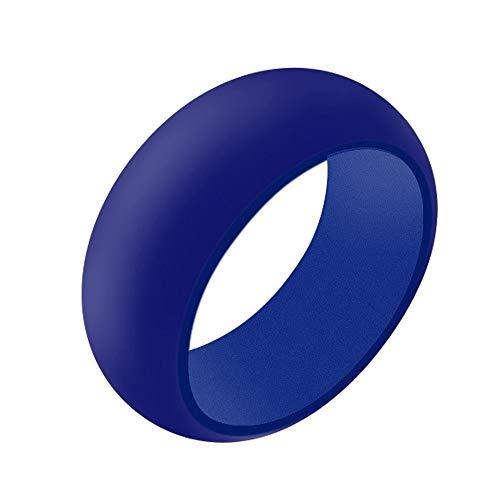 Boolavard Silikon Ehering für Männer und Frauen Preiswerte Silikon Gummiband, 7 Pack, 5 Pack & Singles - Weiß, Grau, Silber, Blau (Blau, 11-20.70mm)