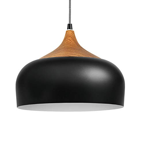 Combuh Wood Dome Pendant Light Modern Lantern Lighting...