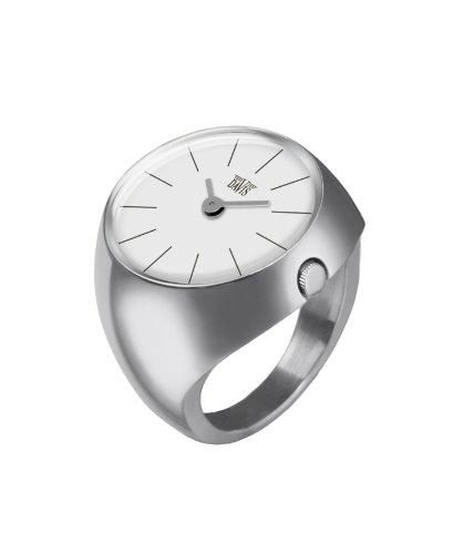 Davis 2001S - Reloj Anillo Mujer Acero Esfera Blanco Cristal de Zafiro Talla 52