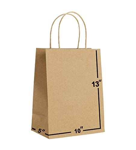 [100 Bags] 10 X 5 X 13 Brown Kraft Paper Gift Bags Bulk with Handles. Ideal for Shopping, Packaging, Retail, Party, Craft, Gifts, Wedding, Recycled, Business, Goody and Merchandise Bag