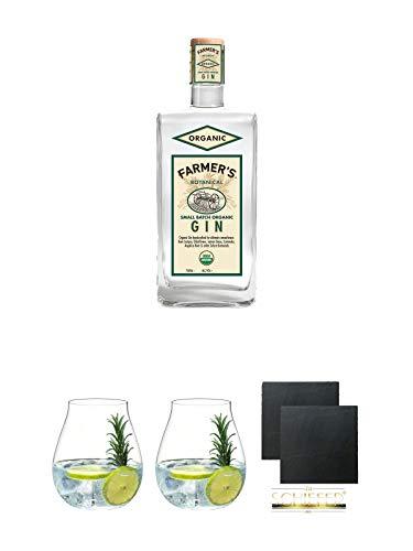 Farmers Botanical Organic American Dry Gin 0,7 Liter + Gin Tonic Glas - 5414/67 + Gin Tonic Glas - 5414/67 + Schiefer Glasuntersetzer eckig ca. 9,5 cm Ø 2 Stück
