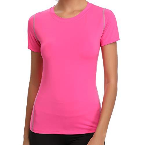 Joyshaper Sport T-Shirt Damen Shortsleeve Top Quick Dry Kompression Trainingsshirt Tight Tanktop Kurzarm Oberteile für Joggen, Fitness, Yoga oder Alltägliche Bekleidung (Rosa, Medium)