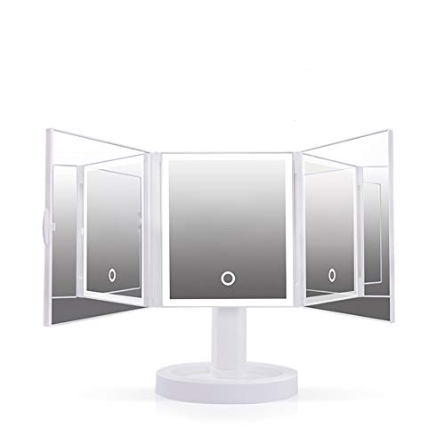 Espejo de maquillaje de luz de relleno inteligente triple plegable de escritorio, atenuación gradual Espejo de aluminio giratorio de alta definición de 360 °, batería y fuente de alimentación USB si