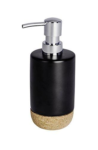 WENKO Distributeur de savon Corc noir - Distributeur de savon liquide Capacité: 0.36 l, Céramique, 7.5 x 18.5 x 8.5 cm, Noir