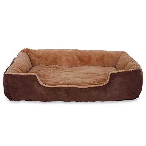 dibea Hundebett Hundekissen Hundekörbchen mit Wendekissen Größe XL Farbe beige/braun