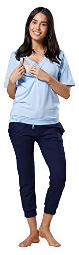 Happy Mama.Damen Umstands Pyjama Stillfunktion Loungewear Rundhalsausschnitt071p (Hellblau und Marine, 44, 2XL)