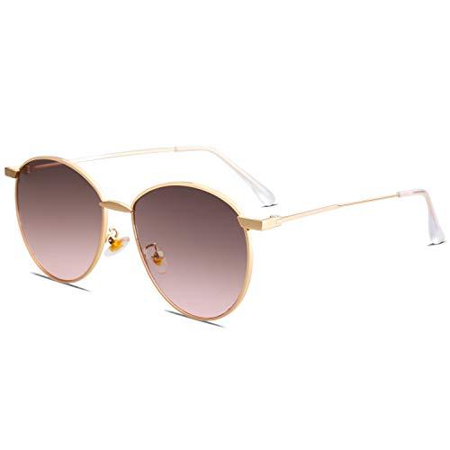 SOJOS Schick Metall Runde Sonnenbrille Damen Verspiegelt SJ1117 mit Gold Rahmen/Grau Rosa Linse