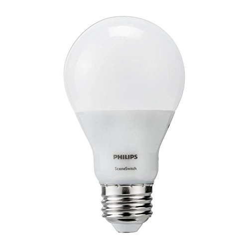 PHILIPS LED A19 SceneSwitch Soft White 3-Setting Light Bulb with Warm Glow Effect: Bright/Medium/Low (60-Watt Equivalent), E26 Base, 4-Pack