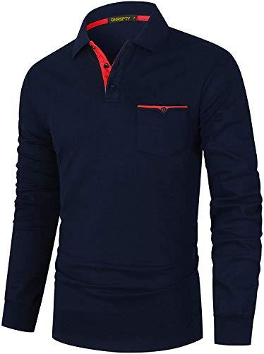 GNRSPTY Polo Manga Larga Hombre Algodon Slim Fit Camisetas Colores de Contraste con Bolsillos Reales Basic Golf Deporte Negocios T-Shirt Top,Azul 2,XL