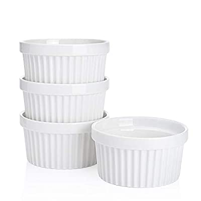 Sweese 501.401 Porcelain Souffle Dishes, Ramekins for Baking - 8 Ounce for Souffle, Creme Brulee - Set of 4, White