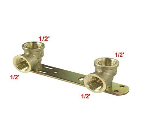 Verdeckte Brausehalterung/Länge – 150 mm/Thermostat-Mischarmatur-Rückplatte, BSP-Gewinde-Wasserhahn-Anschluss-Set 1/2 x 1/2 x L 150 Wärmer System PSW Trade SUPPLIERS LTD