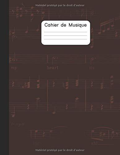 Cahier de musique: Carnet de partitions | Papier manuscrit | 12 portées par page | 100 pages | Grand format | Une belle idée de cadeau pour les amoureux de musique | Couverture Marron