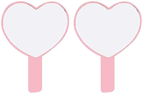 Leilims Miroir de Poche 2pcs Petit Coeur en Forme de Maquillage Miroir Miroir Voyage Portable en Plastique for Les Femmes (Color : Pink)