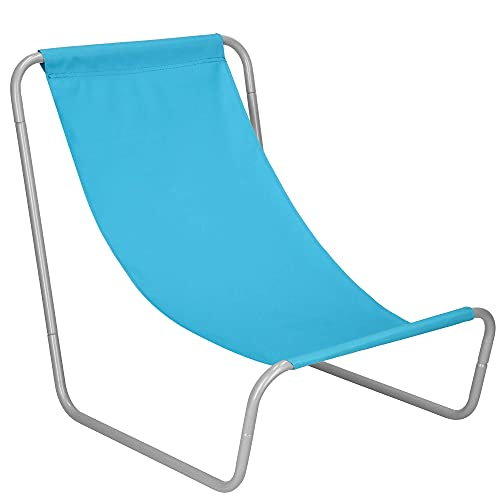 SPRINGOS Tumbona de playa compacta con bolsa de transporte, plegable, tamaño: 50 x 60 x 52 cm, con tela Superstar entre las sillas de playa (azul)