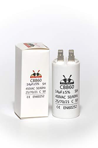Electrofit Condensador de motor 450 V CA 14 uF CBB60
