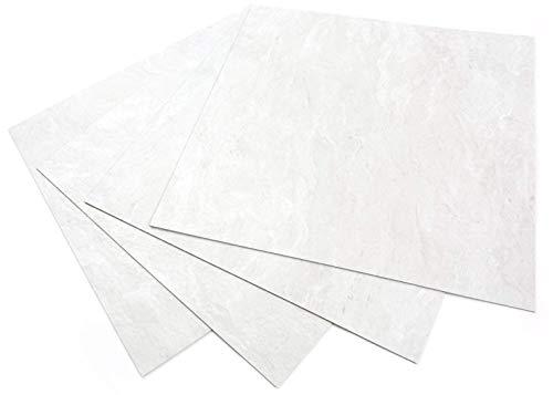 ROSEROSA Peel and Stick Engineered PVC Tiles Stone Concrete Pattern Durable Vinyl Flooring (ECK-201 : Square 4 Tiles)