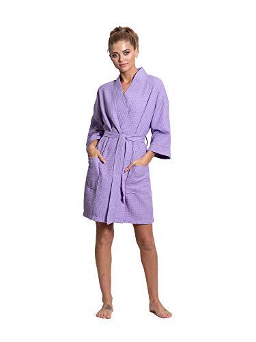 Turkuoise Women's Premium Cotton Knee Length Lightweight Bridesmaids Waffle Kimono Robe