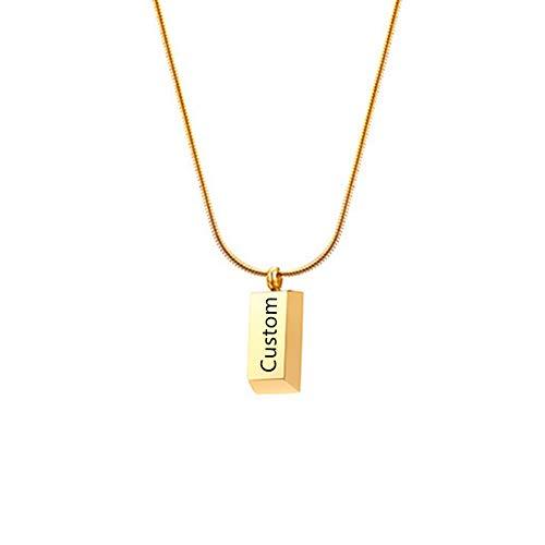 NineJewelry Collar con Colgante Cuadrado Personalizado para Mujer - Collar de Cadena de Acero Inoxidable con Grabado Personalizado, Colgante de geometría Trapezoidal, Regalos para Mujeres y niñas