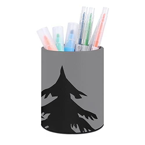 Durable PU Leather Pen Holder Round Pencil Cup Kids Desk Organizer for Office School Bedroom Home Decor, Girls Women Makeup Brush Holder, Disc Golf Grey