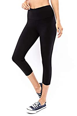 Another Day Women's High Waisted Active Casual Wear Capri Length Yoga Leggings with Inner Pocket (S-3X) Black