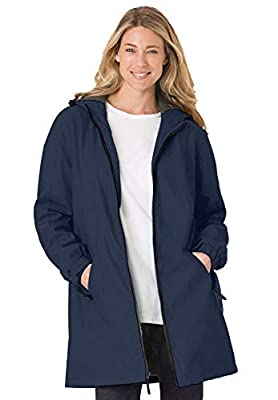 Woman Within Women's Plus Size Hooded Slicker Raincoat - 3X, Navy by Woman Within