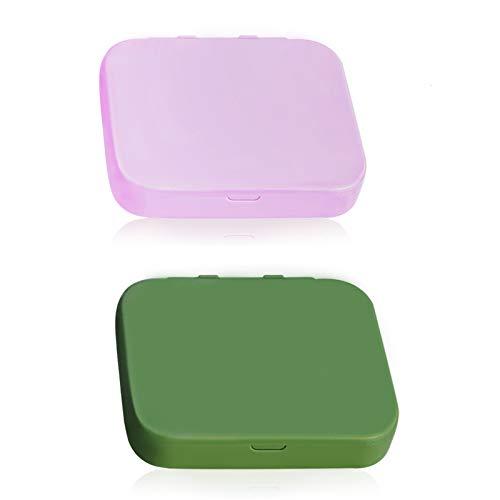 8PCS Bastoncillo de Algodón Reutilizable, Kalolary Bastoncillos de Algodón Ecológicos de Doble Cara Escobillas de Limpieza de Orejas Palillo Cosmético con Espejo Estuche(Rosa + Verde)