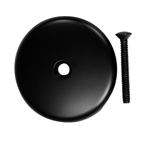 Westbrass 3-1/8' Single Hole Overflow Face Plate and Screw, Matte Black, D328-62