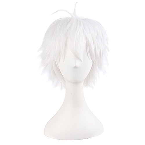 """MapofBeauty 14""""/35cm Men With Short Hair Tied Ponytail Cosplay Party Wigs (White)"""