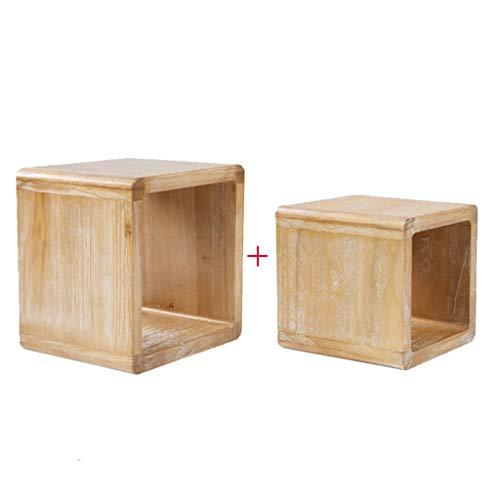 Houtkleur kleine kruk populaire kunst schepper kruk massief hout salontafel ronde schoenverandering bank kinderstoel kinderstoel ouderkind stoel (combinatie Large*medium