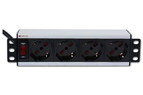 Techly Professional 028870 Multipresa Universale 4 posti Rack 10'' con Interruttore