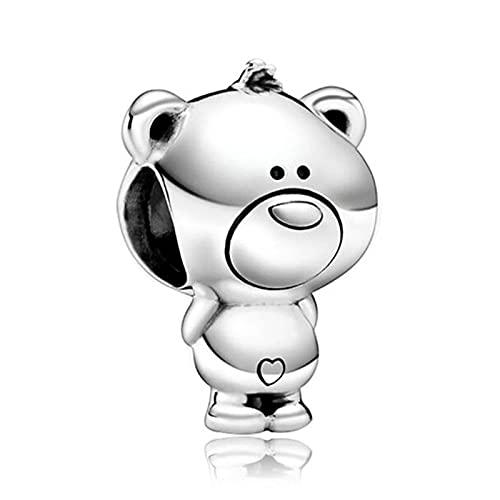 Auténtica Pandora 925 Cuentas De Plata Esterlina Diy Pcs Lindo Colgante De Oso De Plata Adecuado Para Pulsera De Dijes Originales Mujeres Joyería Que Hace Regalos