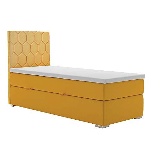 Selsey IBELLA - Boxspringbett Einzelbett mit Bonellfederkernmatratze Topper Bettkasten Stoffbezug in Gelb, 90x200 cm