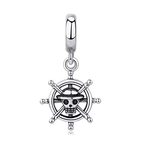 EvesCity Bolenvi 925 Sterling Silver Pirate Skull Sailor Ship Moon Princess Queen Dangling Charms Beads Pendants for Charm Bracelets & Necklace - Best Gift for Her