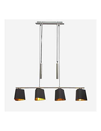KOSILUM - Suspension abat-jour noir et doré avec poulie - Calgary - Lumière Blanc Chaud Eclairage Salon Chambre Cuisine Couloir - 4 x 40W - - E14 - IP20