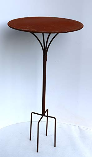 terracotta24 Gartenstecktisch stabil und massiv Deko Tisch aus Metall in Naturrost, Tisch Blumenhocker Beistelltisch (Ø:41cm Höhe:59cm)