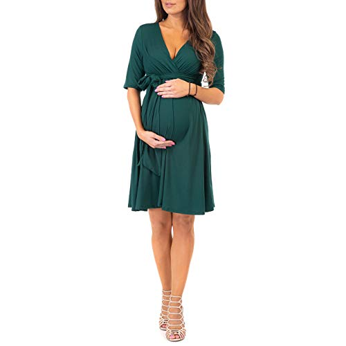 Mother Bee Maternity Women's Knee Length Wrap Dress with Belt for Baby Shower or Casual Wear (Huntergreen, X-Large)