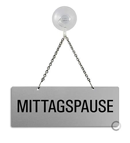 Schild Hängeschild – Mittagspause | Aluminiumschild mit Metallkette 175 x 65 mm Plus Saugnapfhaken | Ofform Design Nr.31052-ES