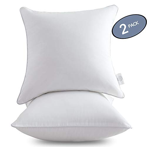 Leeden 18 x 18 Pillow Inserts (Set of 2) - Throw Pillow Inserts with 100% Cotton Cover - 18 Inch Square Interior Sofa Pillow Inserts - Decorative Pillow Insert Pair - White Couch Pillow