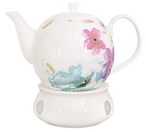 Buchensee Porzellan Kanne 1,5 Liter mit Stövchen. Elegantes Teeset/Kaffeeset aus Fine Bone China mit stilvollem…