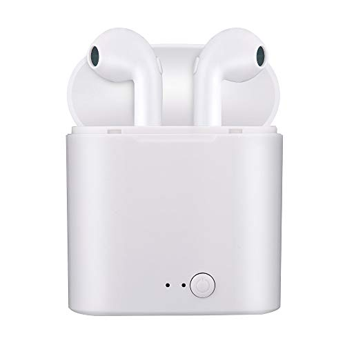 Bluetooth 5.0 i7s-TWS Headsets Wireless Earbuds Bluetooth Headphones 3D Stereo Waterproof Pop-ups Auto Pairing Fast Charging for ipad iPhone I7S I8 I8X I9S (White with Charger)